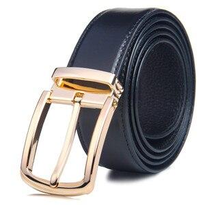 Men Belts for Business Men New Designer Genuine Leather for Jeans Luxury Brand Metal Buckle Belt waistband Strap ceinture Homme(China)