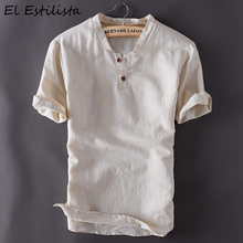 Brand Chinese Casual Mens Short Sleeve Linen Shirt Classic Summer Cotton Linen Clothing Slim Pullover Fashion Sleeved Hemp Shirt