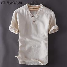 Camisa de lino de manga corta para hombre, ropa de lino y algodón de verano, clásica, ajustada, de cáñamo