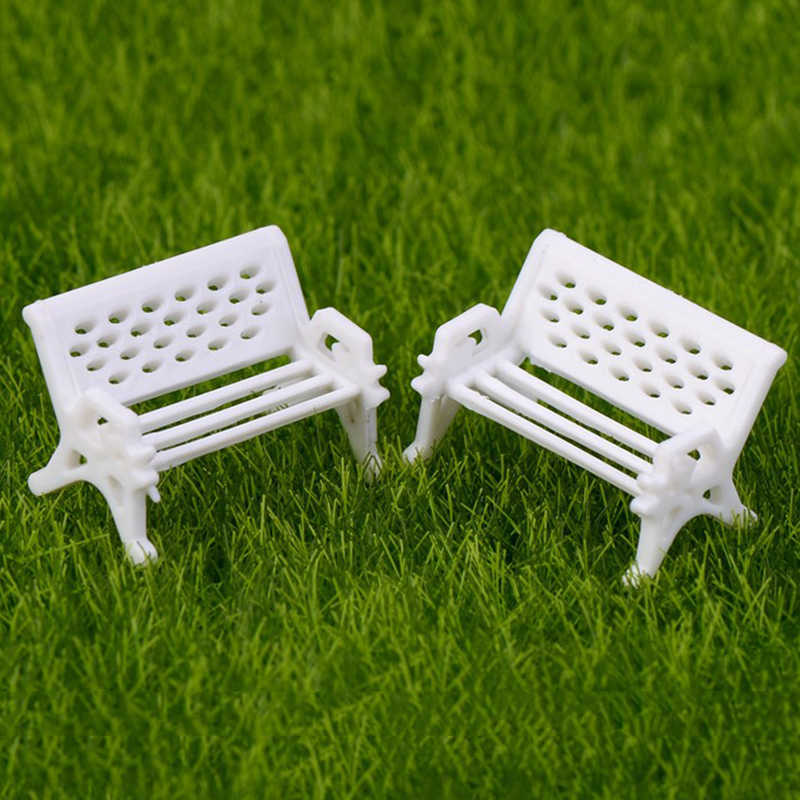 New 1PC Mini White Bench Fairy Doll Chairs Terrarium Moss Family Decor Figurines Garden Miniatures Micro Landscape Accessories