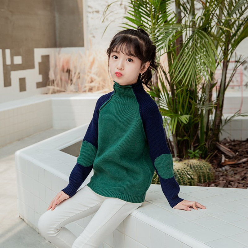 Girl winter new sweater Girl high neck sweater Girl fashion stitching sweater Girl warm bottoming shirt Turtleneck shirt slim fit cable knit turtleneck sweater