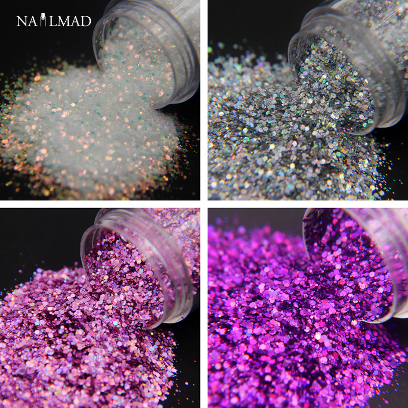 10ml / box Laser Nail Glitter Mixed Glitters Holo Hexagon Nail Sequin Paillettes Nail Art Glitter Sparkles Manicure Tips Dust