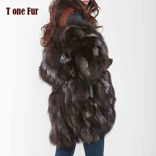 新送料無料新ファッション女性ファッションリアルナチュラルフォックスの毛皮のロングコートジャケット冬のオーバーコートFP335