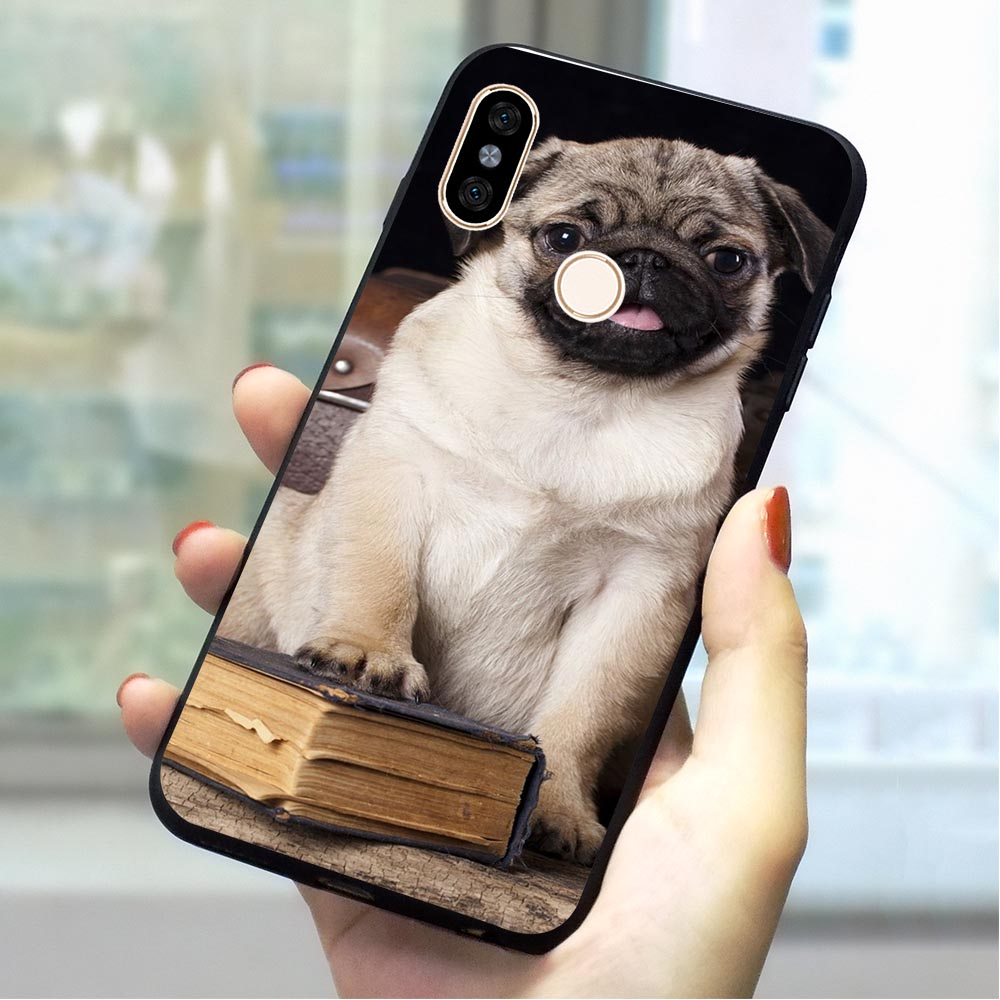 <font><b>Pug</b></font> dog Soft TPU <font><b>Cover</b></font> for <font><b>Xiaomi</b></font> Redmi 4X Phone Case for <font><b>MI</b></font> 4A 5 A 6A Plus 7 Go Pro Prime A1 <font><b>A2</b></font> Note 8 Lite 9 se Backshell image