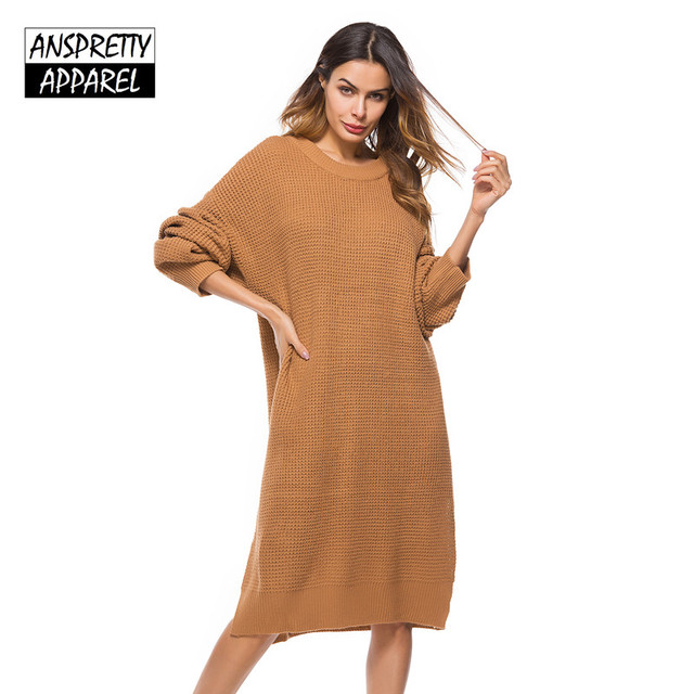 c99d475ccb3 Anspretty Apparel 2018 Spring oversized sweater dress women midi dress long  sleeve knitted casual dress