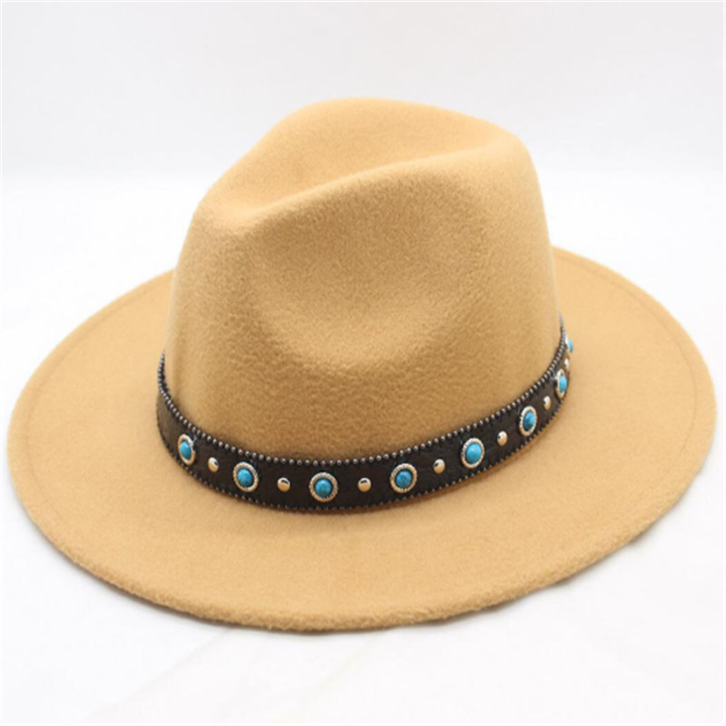 2018 Autumn Winter New Wool Belt buckle Jazz Top Hat Felt Wide Brim Fedora  Hat Bowler Gambler Top Hat Women Men-in Fedoras from Women s Clothing ... a0c6fb55a664