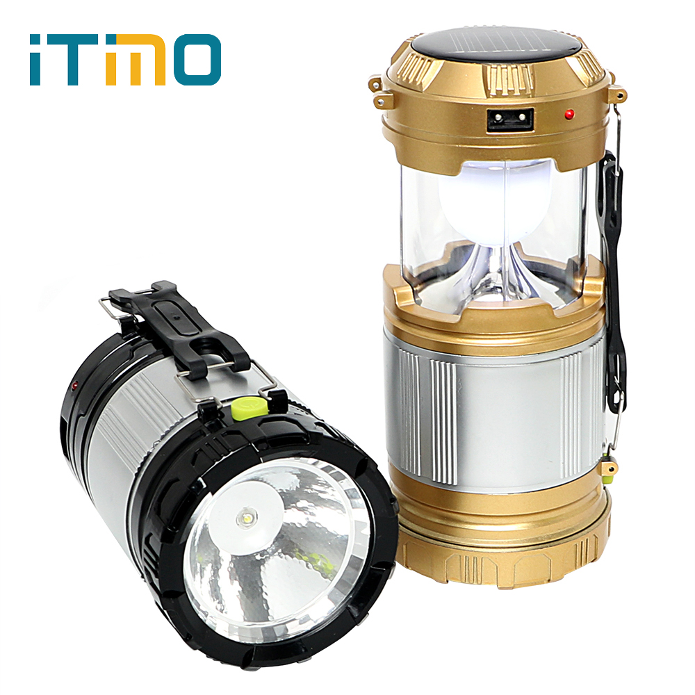 iTimo Emergency Lamp Lantern Lightweight Collapsible Hand Light Led Camping Light Portable For Hiking Camper Tent Solar Powered