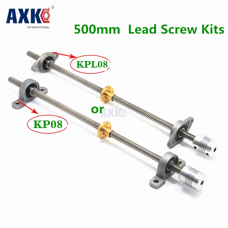 Free Shipping T8 Lead Screw 500 Mm 8mm + Brass Copper Nut + Kp08 Or Kfl08 Bearing Bracket +flexible Coupling For 3d Printer&cnc