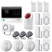 Free DHL WIFI Gsm Alarm Wireless SMS GPRS Security Alarm Systems Security Home smoke Detector Strobe Siren Shock Sensor