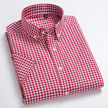 Red Small Plaid Men's Shirt Full Cotton Slim Summer Soft Short-sleeved Shirt High Quality Stripe Office Dress Men Brand Clothing(China)