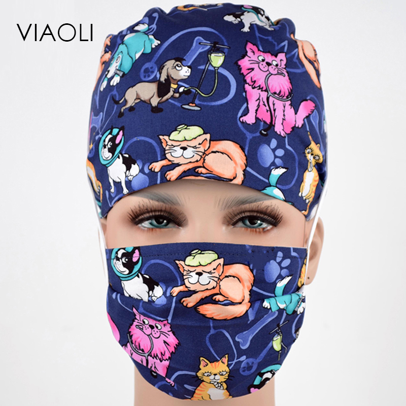 Medical Candid Viaoli New Spring And Summer Multicolor Animal Cat And Dog Printing Operating Room Hats Beauty Doctors Work Cap Cotton