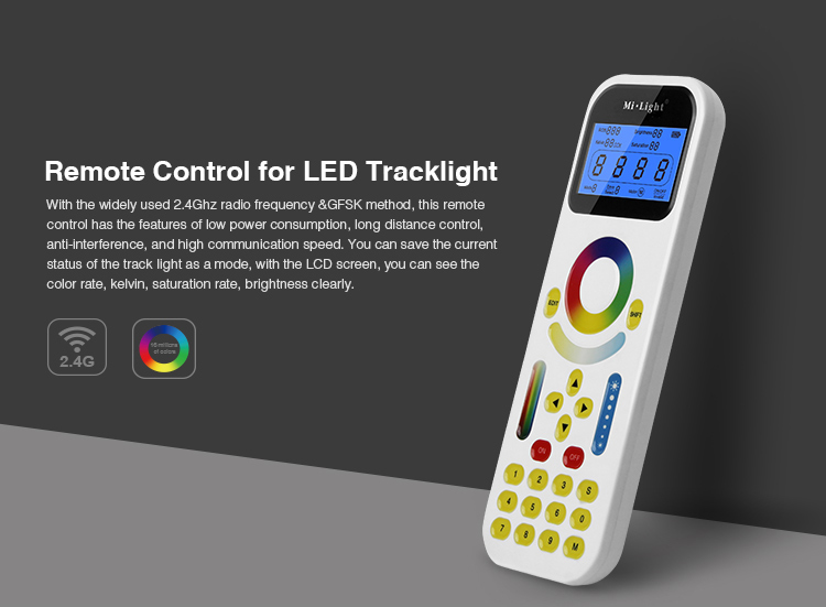 LED Remote Control FUT090 2.4GHz with LCD Screen Max 99 Zones Control for Mi.Light LED Tracklight or LS1 4 in 1 Smart ControllerLED Remote Control FUT090 2.4GHz with LCD Screen Max 99 Zones Control for Mi.Light LED Tracklight or LS1 4 in 1 Smart Controller