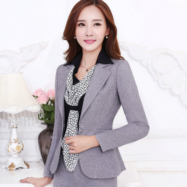 2016 pantalones de las mujeres Profesionales del desgaste del trabajo femenino traje de oficina elegante blazer establece gris negro formal de las mujeres chaqueta de Invierno con pant