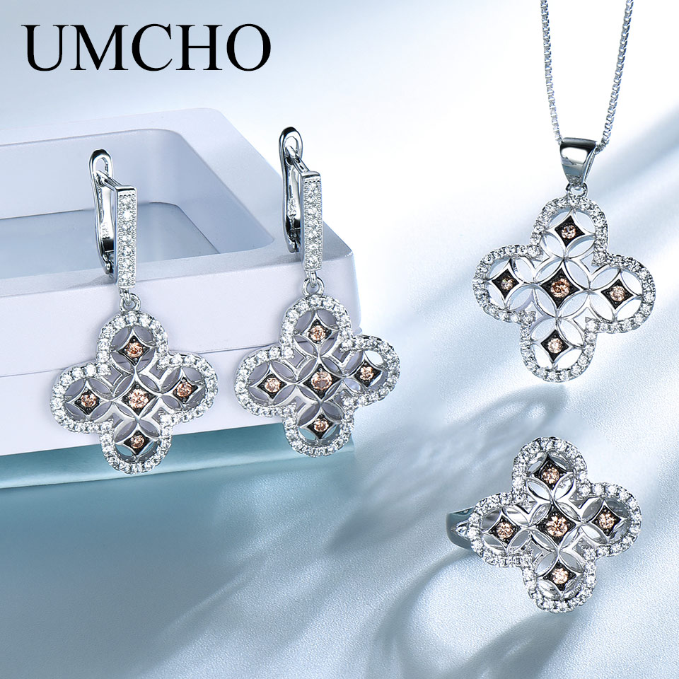 UMCHO Elegant Solid 925 Sterling Silver Pendants Necklaces Rings Earrings Jewelry Sets For Women Wedding Gift Fine JewelryUMCHO Elegant Solid 925 Sterling Silver Pendants Necklaces Rings Earrings Jewelry Sets For Women Wedding Gift Fine Jewelry