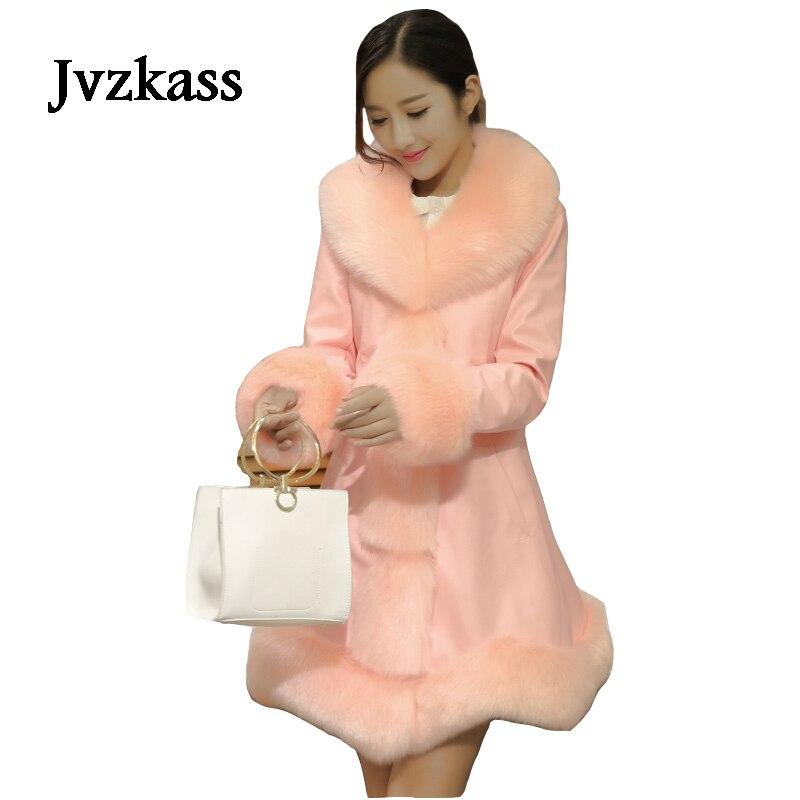Jvzkass 2018 new   leather   jacket padded down jacket women fox fur collar long paragraph Slim fur stitching coat winter Z38