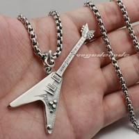 Guitar Metal Rock Legend Scorpion 925 Sterling Silver Mens Rocker Pendant 8B021(Necklace 24inch)