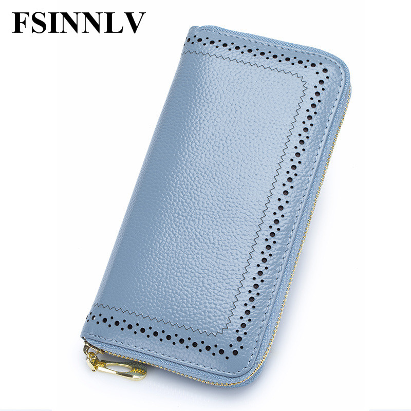 FSINNLV New Genuine Leather Wallet Women Lady Long Wallets Women Purse Female 4 Colors Women Wallet Card Holder Day Clutch DC156 матрас орматек optima lux evs оптима люкс 200x195