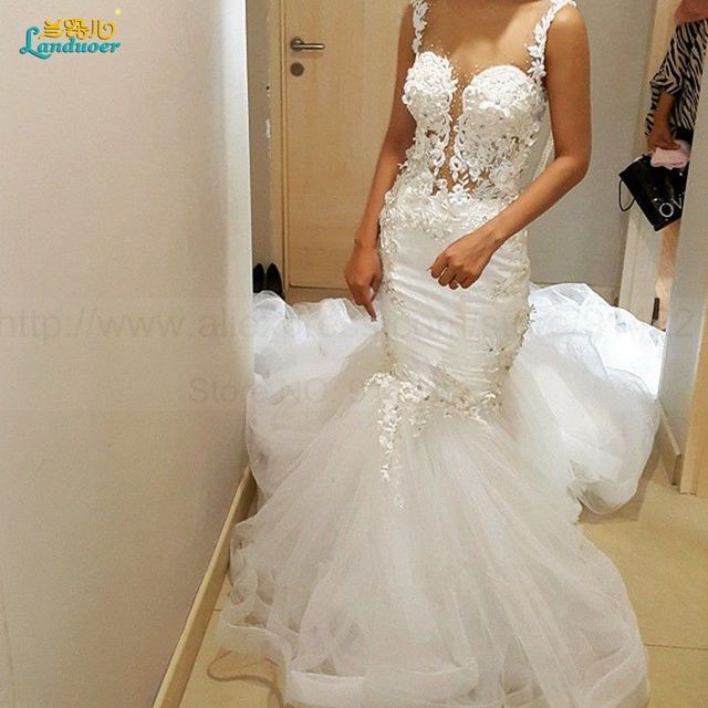 Vintage Lace Mermaid Wedding Dresses 2016 Sheer Scoop Backless Pearls Beaded Vestido De Noiva Sereia Robe de mariage Bride Dress