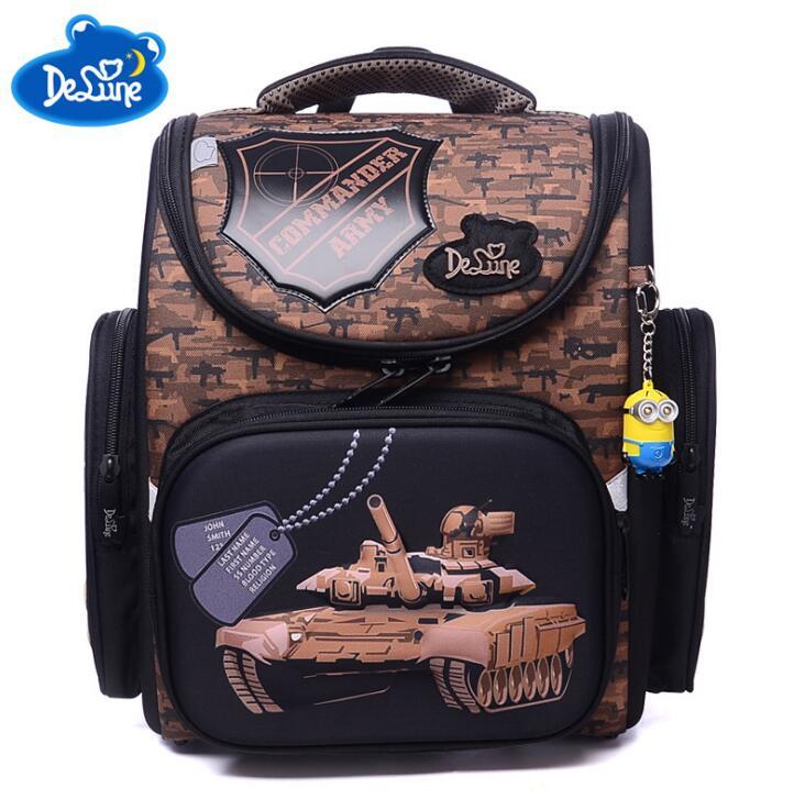 Delune Grade 1-3 Children Orthopedic School Backpack Boys Aamouflage Tank Cartoon Car School Bags Shoes Bag Set Mochila Escolar