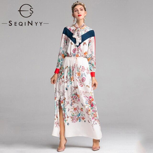 0c73d2a2b SEQINYY الشيفون اللباس 2019 الصيف جديد تصميم الأزياء فضفاض طويل الأكمام  الزهور المطبوعة الخصر مرونة النساء فستان طويل