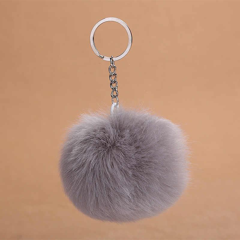 2019 novo 8 cm fofo coelho bola de pele chaveiro bonito creme preto pompom artificial coelho pele chaveiro feminino saco do carro chaveiro
