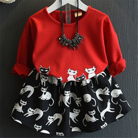 Cute Baby Girls Cartoon Cats Dress Fashion Girl Two Piece Clothing Sets Korean Children 2017 New Spring Kids Outfits Clothes
