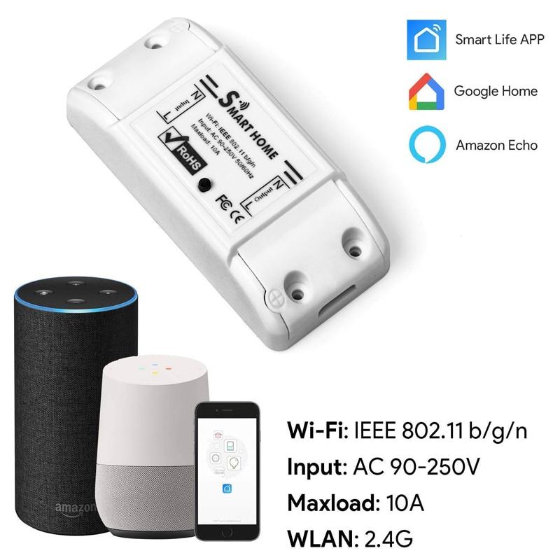 Urgrico Tuya Wi-fi inteligente DIY Interruptor Remoto Sem Fio Módulo de Relé de Luz de Automação Residencial Inteligente de Trabalho do Controlador com Alexa/Google