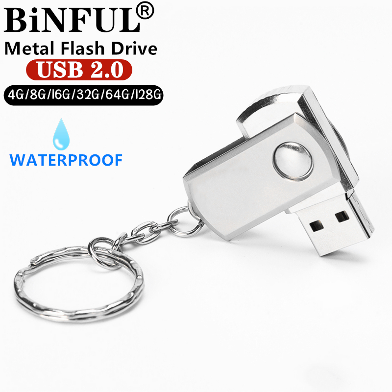 BiNFUL Waterproof Metal Rotated Usb Flash Drive 8gb 16gb 32gb 64gb 128gb Silver/gold/Pink  Memory Stick Pen Drive USB 2.0 U Disk