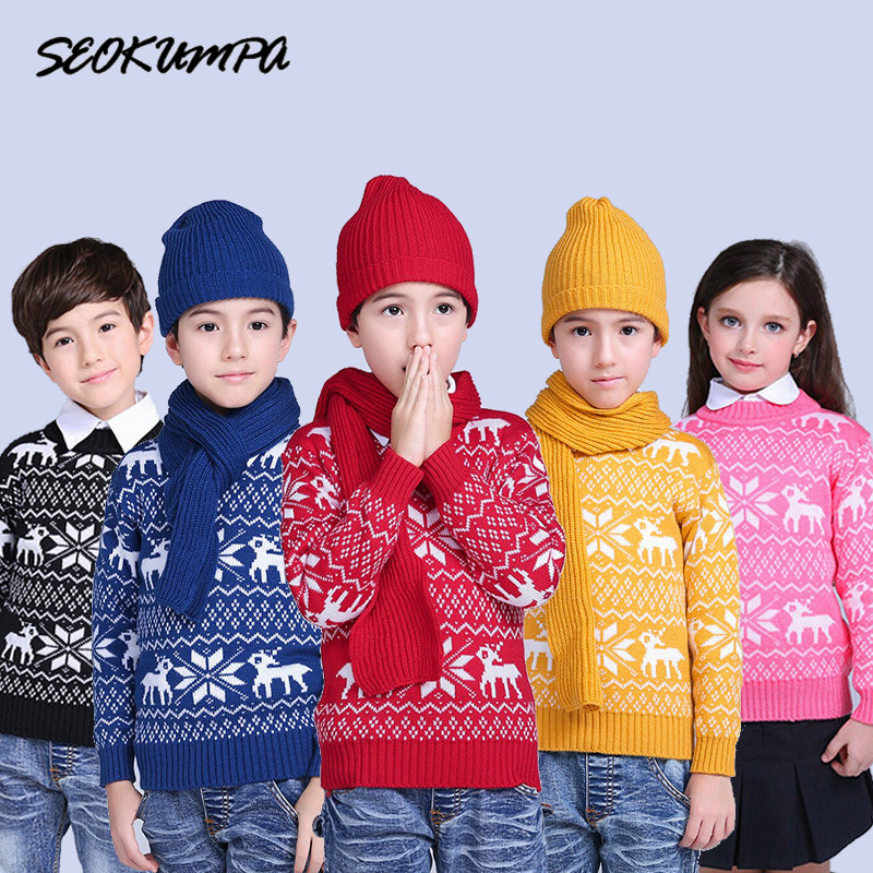 2 Person Christmas Sweater.Autumn Winter Children S Sweaters For Boys Girls Knitted