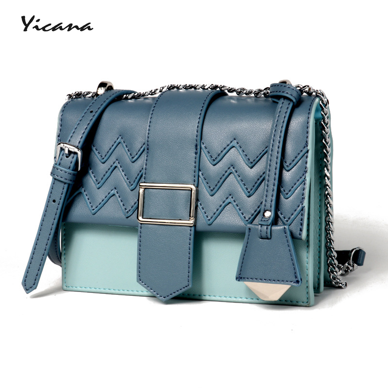 все цены на Yicana 2018 new style Cow leather women handbag casual shoulder bag, impacting color bag