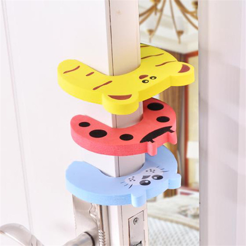 4pcs/lot Baby Care Finger Protector Door Drawer Lock Protection Baby Safety Cute Animal Security Card Door Stopper For Children