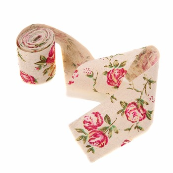 300CM Vintage Rose Floral Print Burlap Stylish Hessian Ribbon Fabric DIY Wedding Craft Decors Handmade Materials