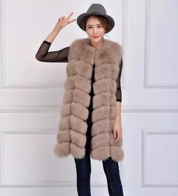 New Winter Genuine Fox Fur Long Vest Women's Full Pelt Gilet Warm Luxury Real Natural Fox Fur Waistcoat With Pockets 160803-1