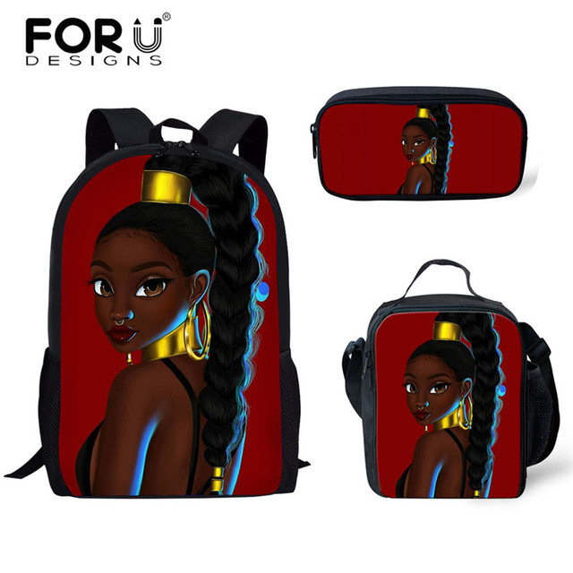 FORUDESIGNS Girls School Bags African Black Girls Hairstyle School Backpack Set Scool Bag For Girl Kids Girl Backpack Junior Bag 3