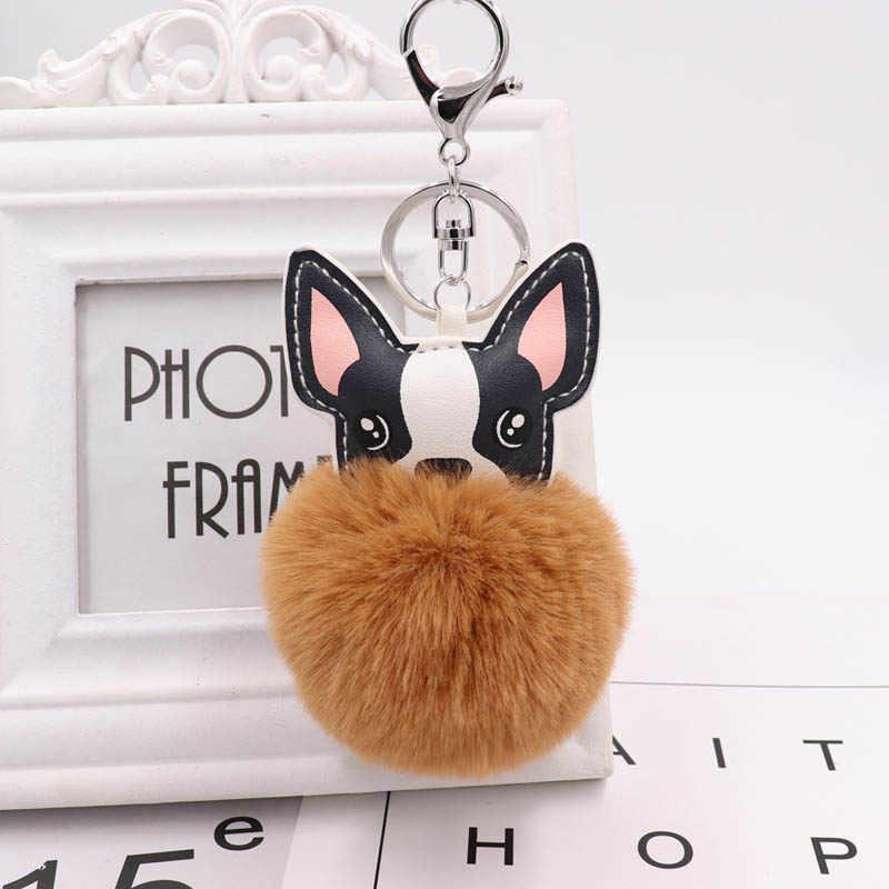 11 cores bonito moda filhote de cachorro bola de cabelo chaveiro filhote de cachorro pelúcia saco pingente chaveiro carro metal pelúcia chaveiro d35