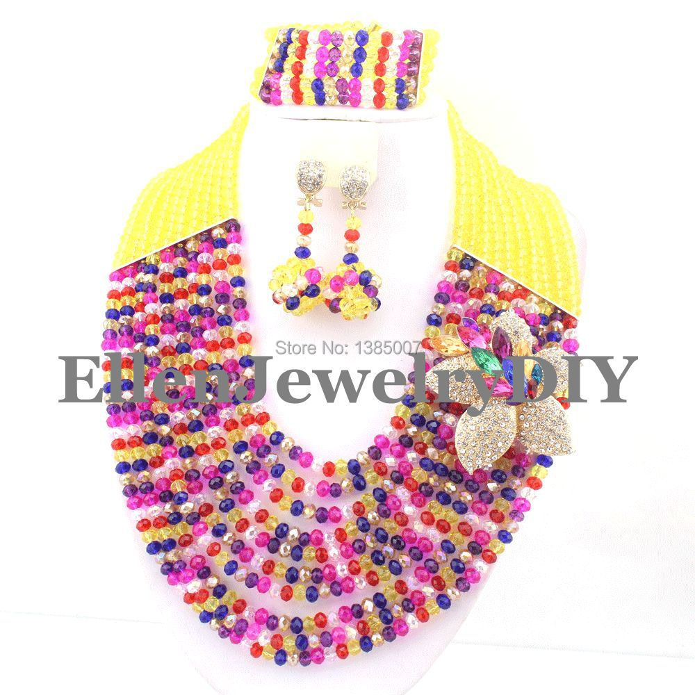 Multicolor African Beads Jewelry Set Crystal Beads Necklace Set African Jewelry Set Crystal Jewelry Set     W7795Multicolor African Beads Jewelry Set Crystal Beads Necklace Set African Jewelry Set Crystal Jewelry Set     W7795