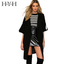 HYH HAOYIHUI 2018 new fashion autumn solid black coat women V-Neck  Adjustable Waist Wide-waisted Open Stitch for lady