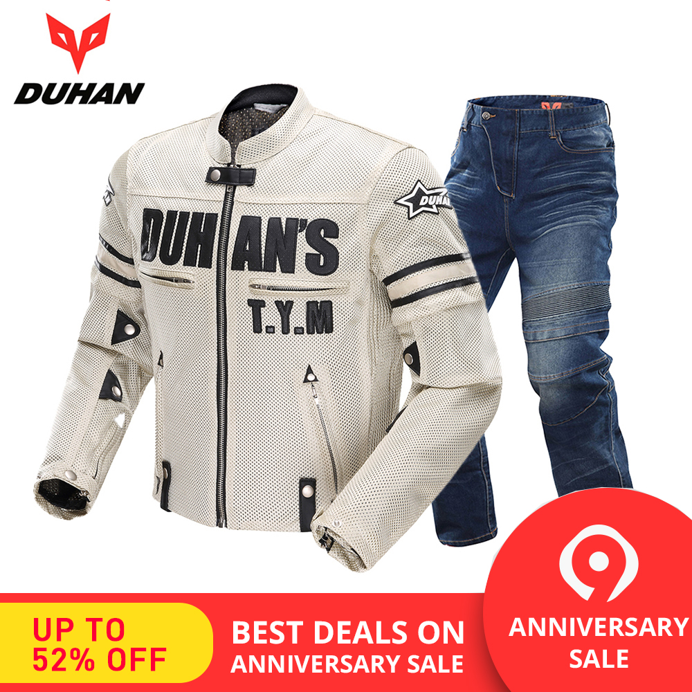 DUHAN Motorcycle Jackets Breathable Moto Suit Motorcycle Pants Windproof Racing Jeans Riding Trousers Automobile Race Pants Men image