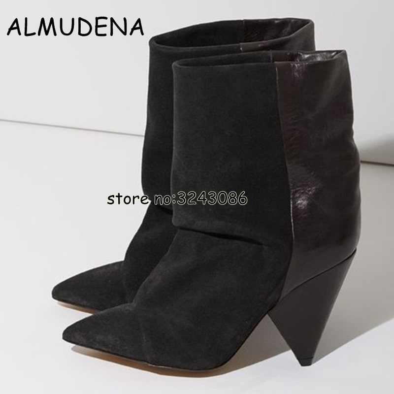 2a4833205 Модные короткие замшевые ботинки с острым носком; женские туфли на высоком  каблуке в уличном стиле