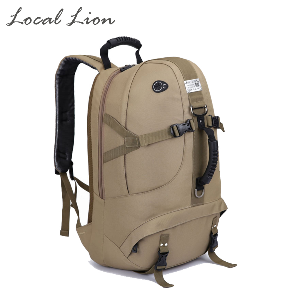 ФОТО LOCAL LION 40L Top Quality Waterproof Canvas Hiking Camping Backpack 2016 New Design Men Women Outdoor Travel Portable Bag HT028