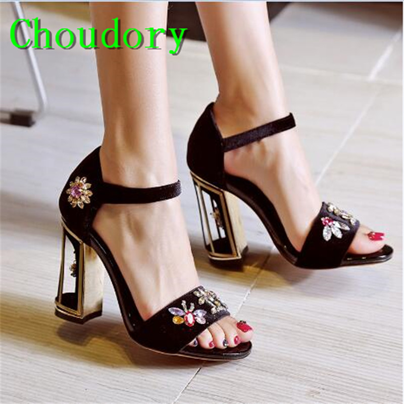 Choudory Super High Heels Fretwork Heels Suede Pointed Toe Buckle Strap Mary Janes Pumps Flower Metal Decoration Fashion Shoes