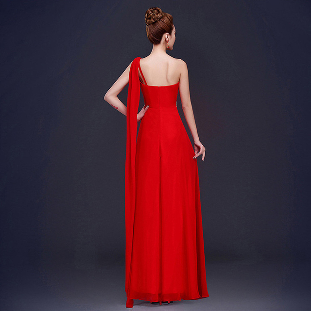 CEEWHY One Shoulder Formal Party Dress Chiffon Bridesmaid Dresses Long Tassel Wedding Party Dress Vestido De Festa De Casamento