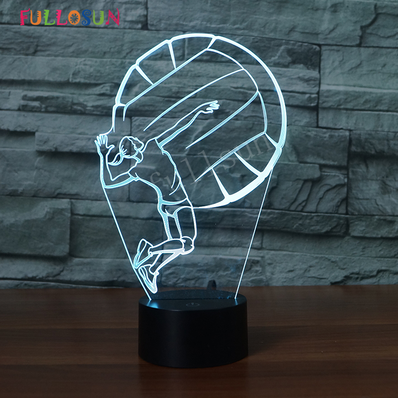 Novelty Lamp 3D Volleyball Girl LED Night light 7 Colors Discoloration Lamp USB Touch Table Lamp as Christmas Decoration Gift