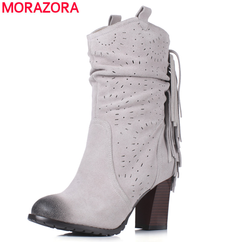 MORAZORA Plus size 34-43 spring autumn cow suede leather boots high quality round toe high heels 7.5cm ankle boots women egonery quality pointed toe ankle thick high heels womens boots spring autumn suede nubuck zipper ladies shoes plus size