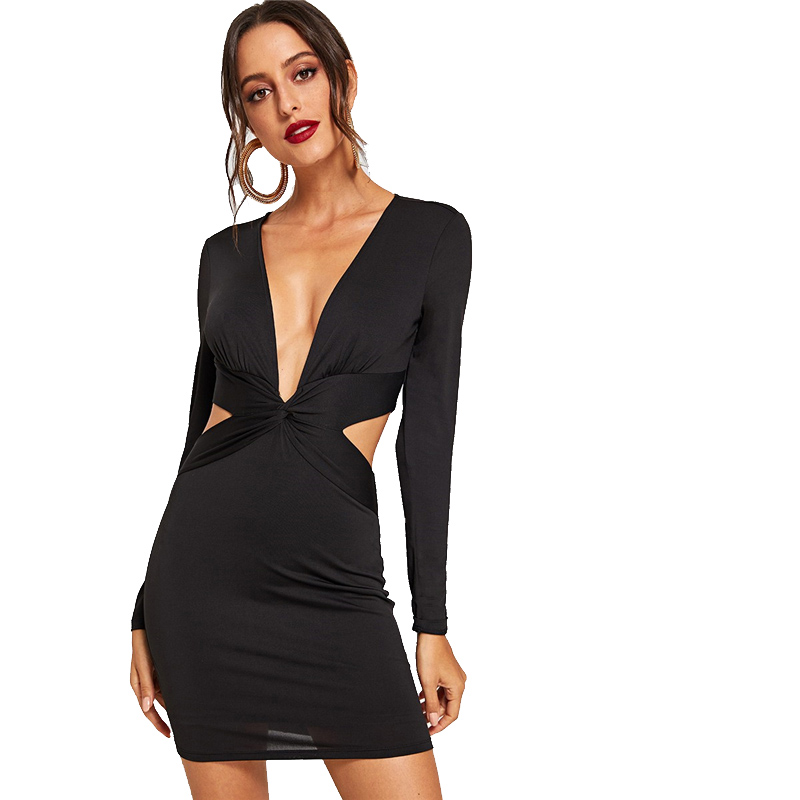 Black Twist Front V-neck Long Sleeve Bodycon Mini Tight Dress