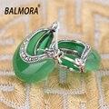 BALMORA 100% Real 925 Plata Esterlina Joyería de Las Mujeres Pendientes Retro y Elegante Opal Stud Pendientes para Mujeres Luna Forma MYS30283
