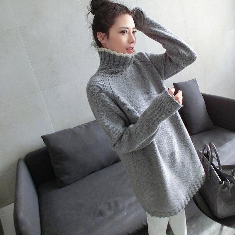 Jersey de cuello alto suéter de las mujeres medio-largo vestido de suéter termal