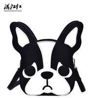 Women Handbags High Quality Women Messenger Bag Black Cute Cartoon Pattern Dog Bag Sweet Girl Dog
