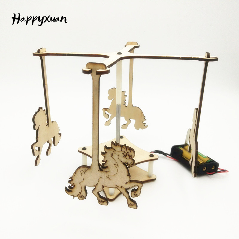 Happyxuan DIY Inventions Science Kit For Kids Homemade Electric Carousel Horse Merry Go Round Gifts Toys Assembling Educational