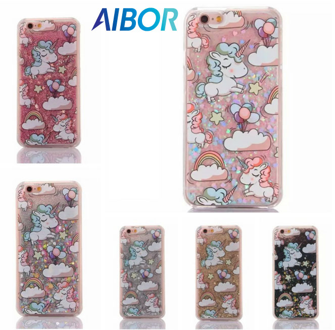 Unicorn Horse Cover Dynamic Paillette Glitter Stars Water Dynamic Liquid Case For Iphone 4 4s Se 5 5s 5c 6 6s 7 8 4.7 Plus 5.5 With The Best Service Phone Bags & Cases